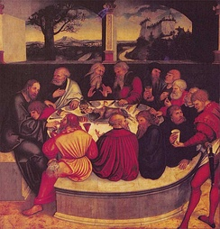 A Lutheran depiction of the Last Supper by Lucas Cranach the Elder, 1547.