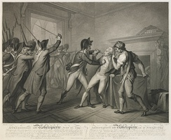 Apprehension of Robespierre ... who on being seized by a Gendarme fired a pistol into his mouth, but did not wound himself mortally.