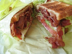 A bacon, lettuce, and tomato (BLT) sandwich