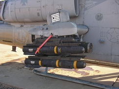 an closeup of the armament of an attack helicoper
