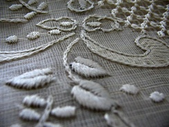 Close-up view of a Barong Tagalog made with piña fiber in the Philippines.