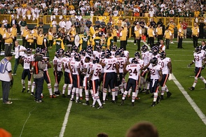 The Bears huddle before their week 5 game against the Green Bay Packers