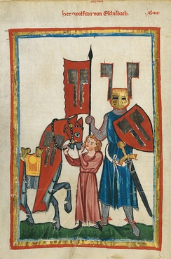 Wolfram von Eschenbach and his squire (Codex Manesse, 14th century)