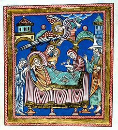 12-century German Nativity of Mary with Joachim wearing a Jewish hat