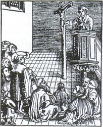 Hallowed be Thy Name by Lucas Cranach the Elder illustrates a Lutheran pastor preaching Christ crucified. During the Reformation and afterwards, many churches did not have pews, so people would stand or sit on the floor. The elderly might be given a chair or stool.