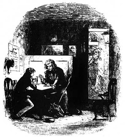 The Wanderer, Mr Peggotty talks to David as Martha overhears, by Phiz.