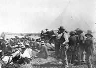 Honourable David Laird explaining terms of Treaty #8, Fort Vermilion, 1899