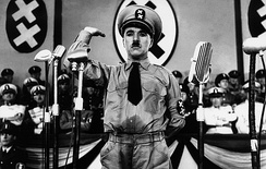 Charlie Chaplin mocks Adolf Hitler in a setting that ridicules Nazi Germany and its leadership, and uses double-crosses as mockery of the Nazi swastika.