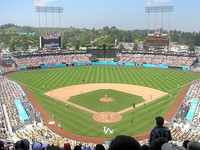 Dodger Stadium (left), the home of the Los Angeles Dodgers, and Angel Stadium (right), home of the Los Angeles Angels.