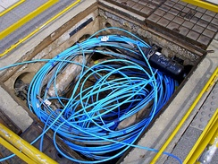 Fiber-optic cable in a Telstra pit