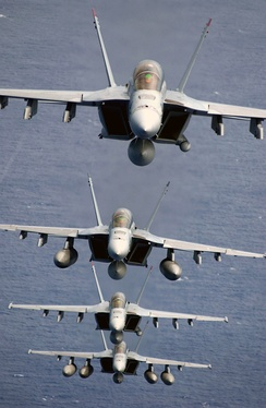 Four Navy F/A-18F Super Hornets