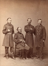 Brigadier General Harrison (left) with other commanders of the XX Corps, 1865