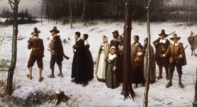 The Early Puritans of New England Going to Church by George Henry Boughton (1867)