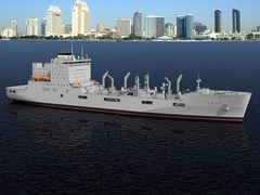 Artist impression of USNS John Lewis (T-AO-205), an replenishment oiler from National Steel and Shipbuilding Company and the lead ship of her class