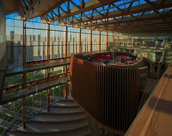 "The interior of the new Student Union Building contains a ""bird's nest"" where students may relax and study."