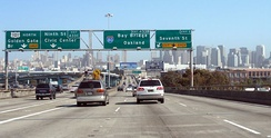 The western terminus of Interstate 80 in San Francisco, viewed from northbound US 101