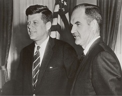 McGovern as Food for Peace director in 1961, with President John F. Kennedy