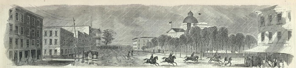"""Raising the Stars and Stripes Over the Capitol of the State of Mississippi"", engraving from Harper's Weekly, June 20, 1863, after the capture of Jackson by Union forces during the American Civil War"