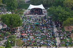 "Aerial view of ""Jazz in the Park"", Cathedral Square Park"