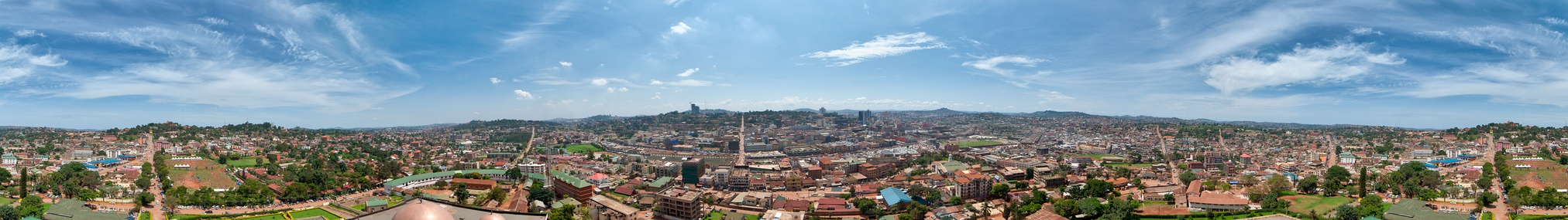 360-degree Kampala City panorama from the Old Gadafi Mosque