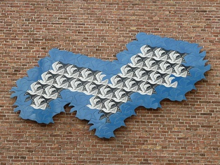 A wall sculpture in Leeuwarden celebrating the artistic tessellations of M. C. Escher