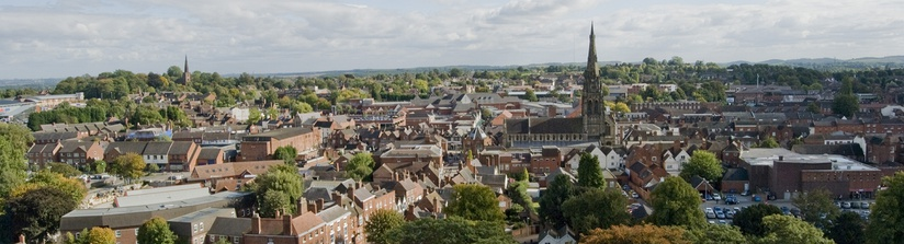 Panorama of the city, taken from Lichfield Cathedral central spire