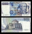 10,000 lire – obverse and reverse – printed in 1984