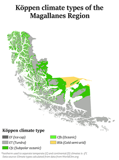 Köppen climate types in the Magallanes Region