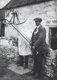A Mari Lwyd c. 1910–1914. Traditionally carried from door to door during Calennig in Wales