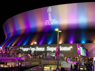 El Mercedes-Benz Superdome durante el Super Bowl XLVII.