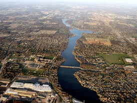 The St. Joseph River flows through the heart of Michiana, southwest from Michigan to Indiana, west through Mishawaka (shown), turning north at South Bend, back into Michigan through Niles to Lake Michigan at St. Joseph.