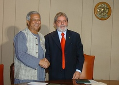Yunus with Brazilian President Lula Da Silva in 2008 after winning Nobel Peace Prize