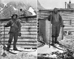 Arctic travelers, Fridtjov Nansen and Hjalmar Johansen at the camp of Frederick Jackson on Northbrook Island in 1896.