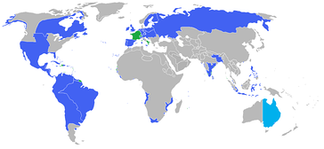 All the participants of the War of the Seventh Coalition. Blue: The Coalition and their colonies and allies. Green: The First French Empire, its protectorates, colonies and allies.