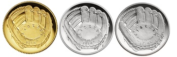Examples of the National Baseball Hall of Fame coins produced by the United States Mint