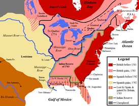 Map showing British territorial gains in North America following the Treaty of Paris in pink, and Spanish territorial gains after the Treaty of Fontainebleau in yellow