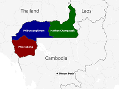 The provinces ceded from Cambodia by France to Thailand were regrouped into new Thai provinces: Phra Tabong, Phibunsongram, and Nakhon Champassak