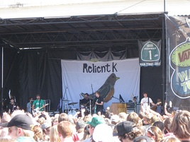 The band performing at a concert during the Warped Tour in 2008
