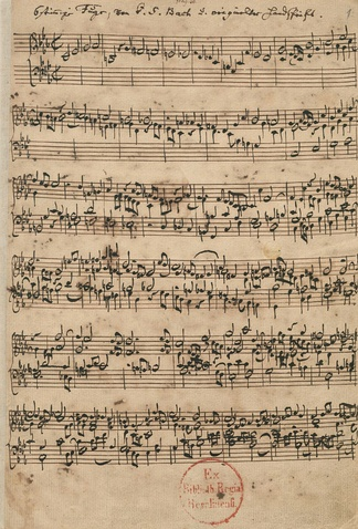 The six-part fugue in the Ricercar a 6 from The Musical Offering, in the hand of Johann Sebastian Bach