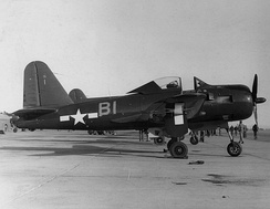 A Ryan FR-1 Fireball of VF-66 at NAS North Island, 1945. This aircraft featured a piston engine for range and a jet engine in the tail for speed.