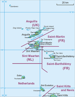 Map showing location of St. Barts relative to Sint Maarten/Saint Martin and St Kitts