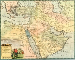 Part of the Safavid Persian Empire (on right), the Ottoman Empire, and West Asia in general, Emanuel Bowen, 1744–52