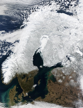 Satellite image of Fennoscandia with sea ice covering the Bothnian Bay (white region in center)