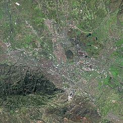 Skopje as seen by the SPOT satellite. Mount Vodno is visible on the bottom left of the picture.