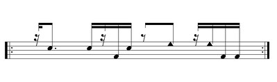 Basic form of songo tumbadoras part. Triangle notehead: high-pitched drum slap; regular noteheads: high and low drum open tones.