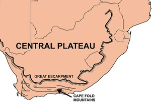 A map of South Africa showing the main topographic features: the Central Plateau edged by the Great Escarpment, and the Cape Fold Belt in the south-west corner of the country