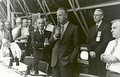 Vice President Spiro Agnew congratulates launch control after the launch