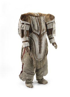 Caribou skin parka from Nunavut with hood for carrying a baby