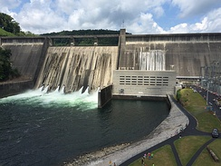 Norris Dam, a hydroelectric dam operated by the Tennessee Valley Authority that was among the first projects the TVA performed as part of the New Deal in 1933.[224]