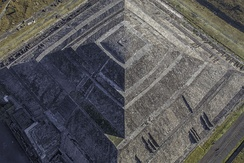 Pyramid of the Sun of Teotihuacan with first human establishment in the area dating back to 600 BC